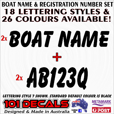 CUSTOM 15cm high BOAT REGISTRATION numbers & 59cm long BOAT NAME decal stickers