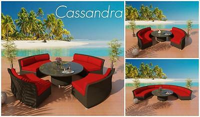 Patio Furniture Cassandra Outdoor Wicker Round Sectional Sofa Dining Set Java H