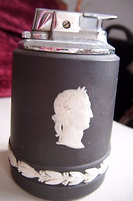 Vintage Ronson Black Wedgwood Gas Table Lighter In Lovely Condition