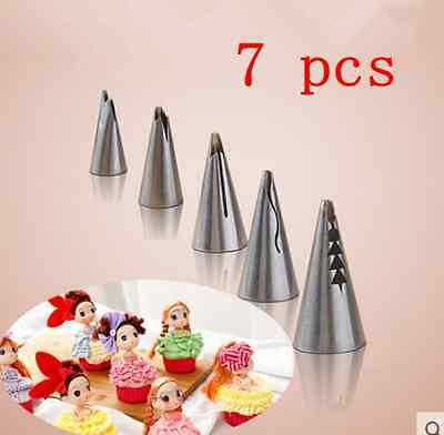 Stainless Steel 7pcs Flower Icing Piping Nozzles Tips Pastry Cake Baking Tool CH