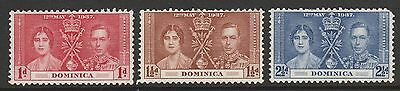 1937 Dominica King George Vi Coronation Stamps Set Mh