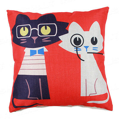 "18"" Black And White Cat Pattern Cushion Cover Cotton Linen Pillowcase Home Decor"