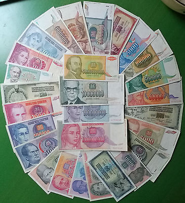 Yugoslavia lot 28 banknotes 1978-1994. All different. VF