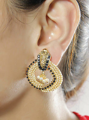 6618 Indian Bollywood Design Pearl Stone Polki Earring Set Gold Plated Jewelry