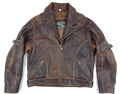 Vintage HEIN GERICKE Motorcycle Leather Jacket Mens  L / XL Brown Mint Rare