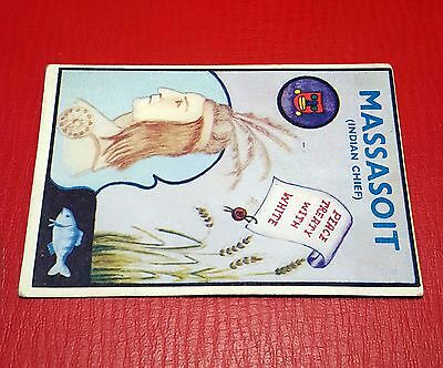 1960 Colinville GUM CARD Prairie Pioneers #1 MASSASOIT Indian Chief END NUMBER 1