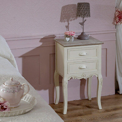 cream painted wooden bedside table cabinet vintage 2 drawer chest bedroom