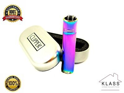 New ICY Rainbow Metal Clipper Lighter with FREE ENGRAVING Personalised Gift Set