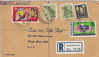 P 2093 Nigeria Maiduguri  reg 1966 cover to USA; 5 stamps; 3/- rate; YWCA
