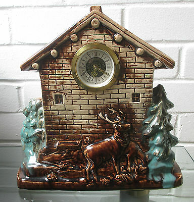 Vintage Ornate Porcelain West German Hunting Scene Meccedes Mantel clock