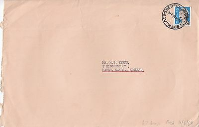 P 2112  SA  1968 cover to UK; 5c QE2 coil multicoloured solo stamp used