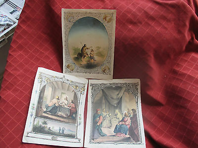 3 old coloured religious prints,l.clasen,a h payne