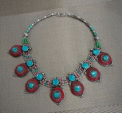 MIAO SILVER OLD INLAY turquoise coral CLOISONNE FLOWER HAND CARVED necklace