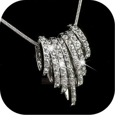 18K White Gold Gp Swarovski Crystal Rings Cluster Pendant Necklace