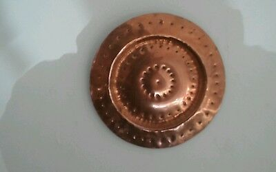 Vintage  arts and crafts hammered copper wall plaque.