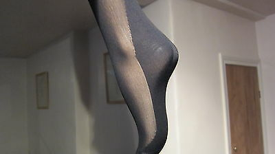 Vintage Stockings Flexifit Mousse Black Ff Seamed Cuban Heel Keyhole Loop Long