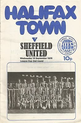 Halifax Town v Sheffield United, 10.9.1975, League Cup - match details noted