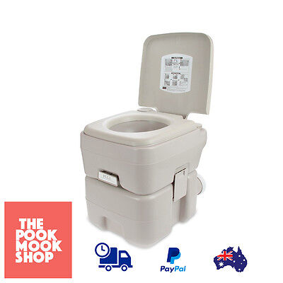 Portable Potty Toilet Outdoors Camping Travel 20L DOUBLE SEALED Flushes Water