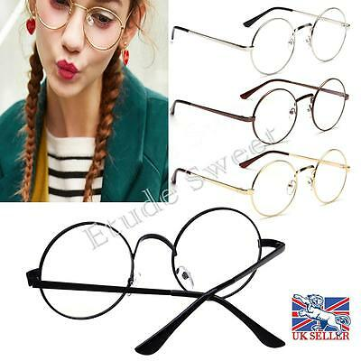 Unisex Big Round Metal Frame Clear lens Vintage Retro Geek Glasses Specs Fashion