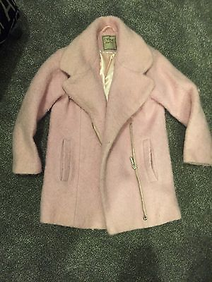 Next Girls Pink Tweed Style Coat Aged 5-6 Years