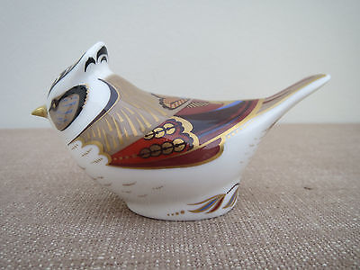 Royal Crown Derby, Crested Tit Bird, 21st Anniversary Gold Stopper, 2001 Perfect