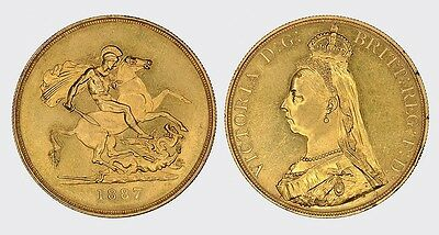 INGHILTERRA - VICTORIA -AU/ 5  SOVEREIGN STERLINE POUNDS 1887  gold oro