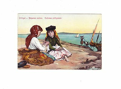 Charming Postcard Of Two Girls In Portuguese Costume Sitting By A River