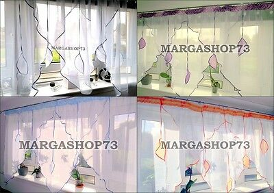 (F4) Beautiful White Voile Net Curtain with Various Colours Piping