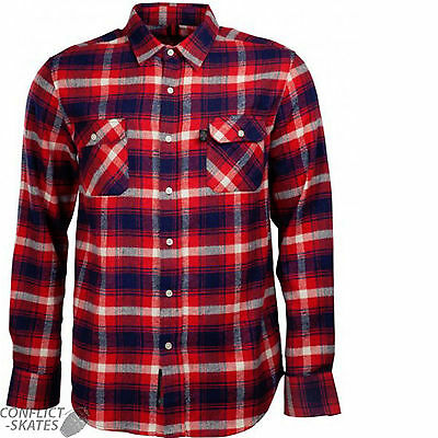 """INDEPENDENT """"Faction"""" Skateboard Check Shirt RED S M L XL Plaid Long Sleeve INDY"""