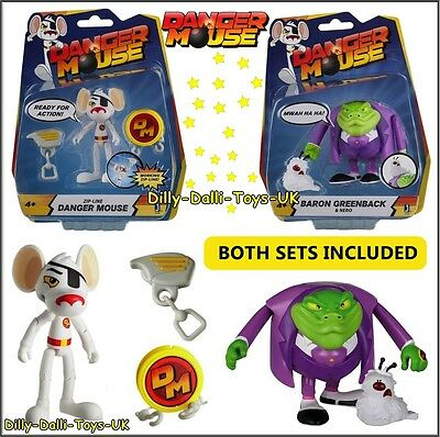 Danger Mouse Character Toy Figures Baron Greenback AND Zip Line Dangermouse NEW