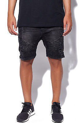 New KISS CHACEY Mens Zeppelin Denim Short Jet Black Most Wanted