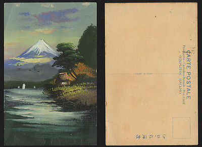 Japan Hand painted postcard. Mountain Mt Fuji