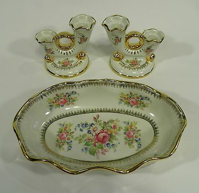 Vintage ABINGDON USA Pottery Floral Console Bowl & Matching Candle Holders Set