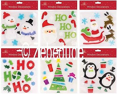 Christmas Gel Window Stickers Decoration Santa Rudolf Penguin Snowman 6 Designs