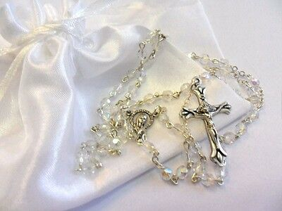 Rosary beads, small glass crystal faceted beads, silver colour metal crucifix