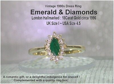 Emerald & Diamond Cluster Ring 18ct Yellow Gold UK size I London Hallmarked 1996
