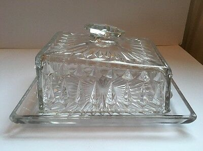Large Vintage Pressed Glass Butter / Cheese Dish