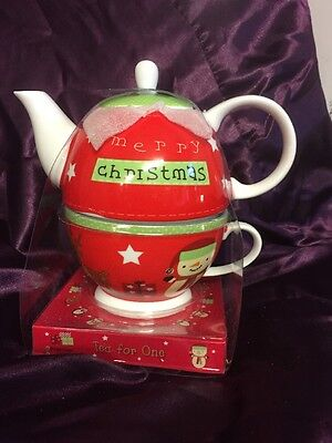 Cute Christmas Teapot & Cup - Tea For One Gift Set. Perfect Present Tea Lovers!