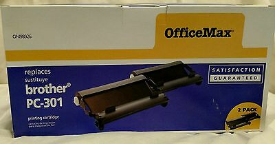 OfficeMax Brother PC-301 Printing Cartridges, 2 pack - NEW