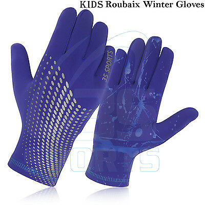 Kids Cycling Winter Gloves Full Finger Roubaix Bicycle Thermal Running -BLUE NEW