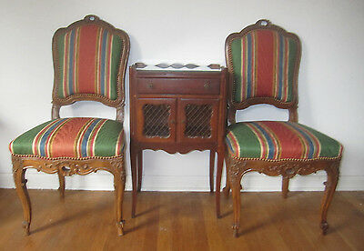 Pair 2 Authentic Antique Louis XV 18th Century Striped Carved Upholstered Chairs