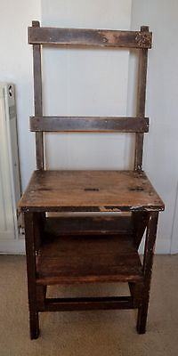 Vintage 1940's metamorphic wooden chair, steps, library step