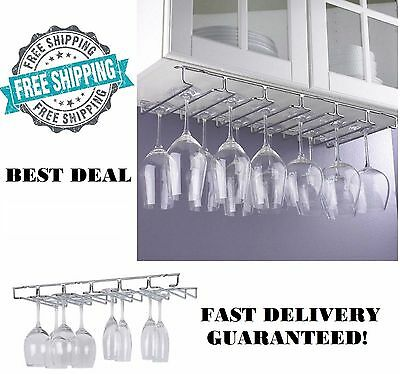 Wine Glass Rack Under Cabinet 18 Pc Hanging Stemware Hanger Holder Organizer New