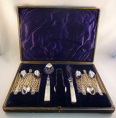 Boxed Set English? Mother of Pearl & Silverplate Tea Dessert Set