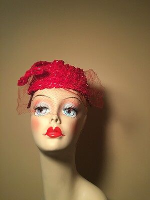 Vintage Sally Victor 1960's Red Straw Hat With Veil