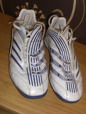 MEN'S Blue & White ADIDAS TRAXION TURF FOOTBALL TRAINERS. UK SIZE 10