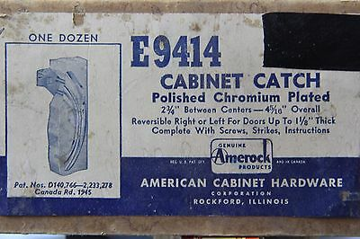Vintage 1950s Amerock E9414 Chrome Cabinet Pull and catch Art Deco NOS