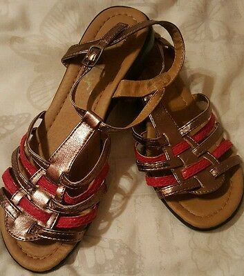 Ladies red & gold strappy sandals, flat, size 5
