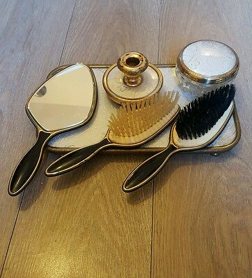 Vintage Vanity Dressing Table 6 piece set. Gold colour with Lace back.