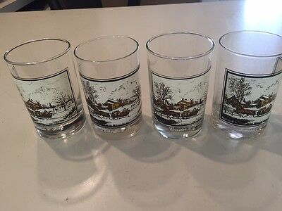 FOUR ARBY'S CURRIER & IVES WINTER CHRISTMAS OLD FASHION ROCK GLASSES Collectors